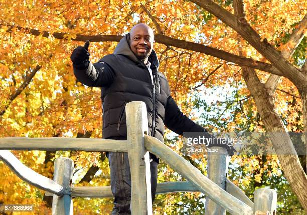 Rapper Wyclef Jean stands on the 2017 Discover NHL Thanksgiving Showdown Float at The Macy's Thanksgiving Day Parade on November 23 2017 in New York...