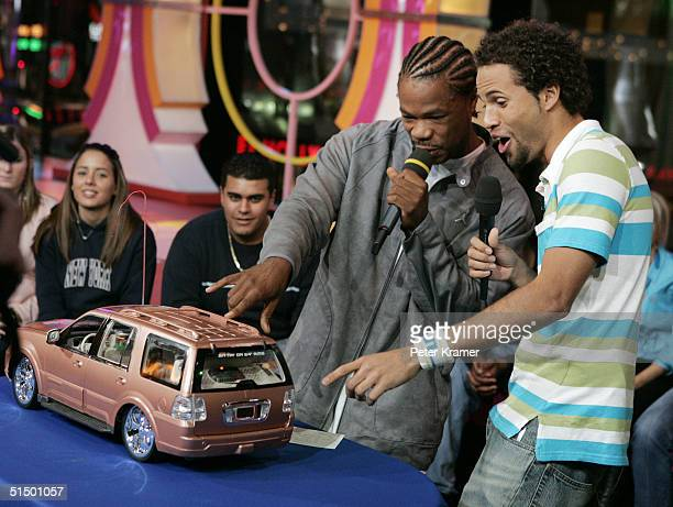 Rapper Xzibit and MTV VJ Quddus make an appearance on MTV's Total Request Live on October 19 2004 in New York City
