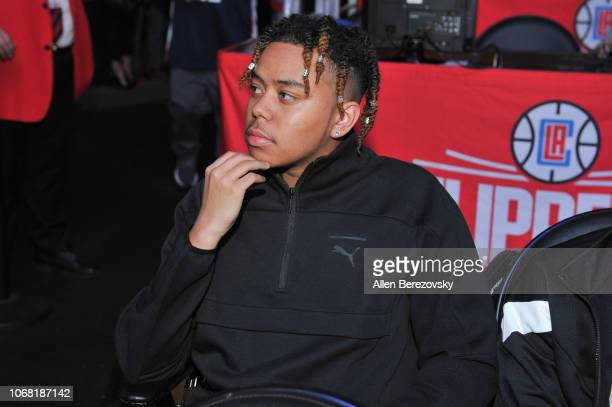 Rapper YBN Cordae attends a basketball game between the Los Angeles Clippers and the San Antonio Spurs at Staples Center on November 15 2018 in Los...