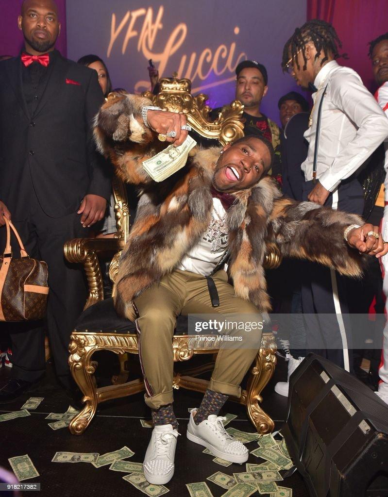 Rapper YFN Lucci attends Trap Du Soleil Celebrating LFN Lucci on February 13, 2018 in Atlanta, Georgia.