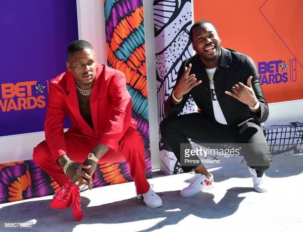 Rapper YG and Meek Mill arrive to the 2018 BET Awards held at Microsoft Theater on June 24 2018 in Los Angeles California