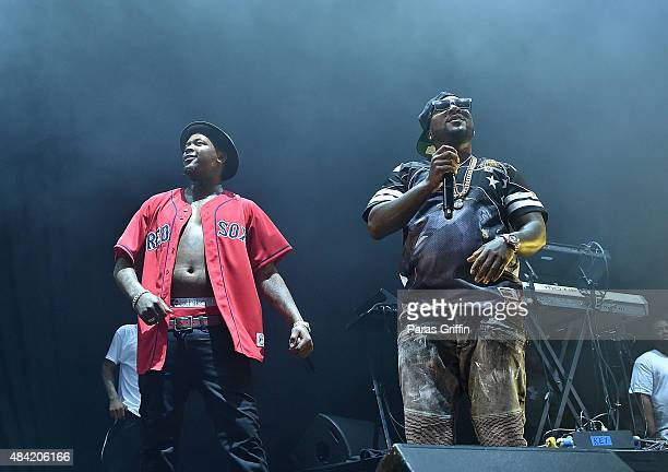 Rapper YG and rapper Jeezy perform in concert at Aarons Amphitheatre at Lakewood on August 15 2015 in Atlanta Georgia