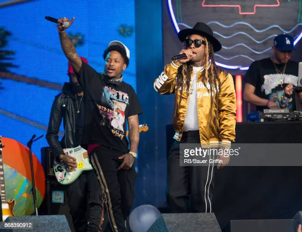 Rapper YG and Ty Dolla $ign are seen at 'Jimmy Kimmel Live' on October 30 2017 in Los Angeles California