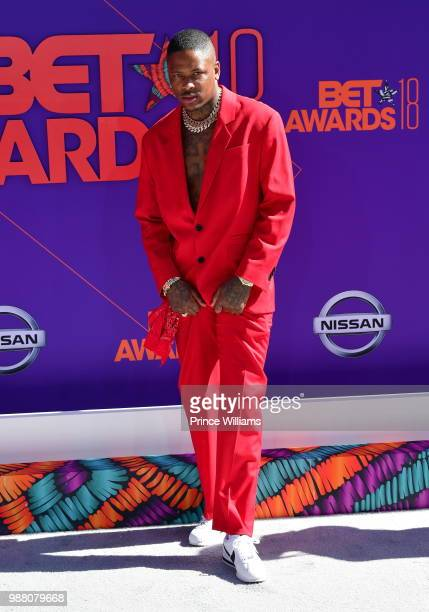 Rapper YG arrives to the 2018 BET Awards held at Microsoft Theater on June 24 2018 in Los Angeles California