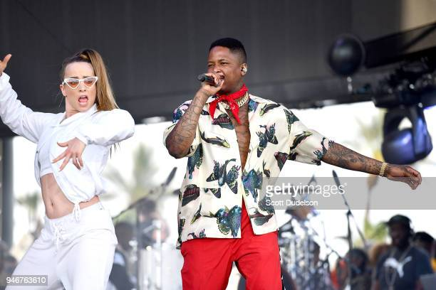 Rapper YG performs as a special guest on the Coachella stage during week 1 day 3 of the Coachella Valley Music and Arts Festival on April 15 2018 in...