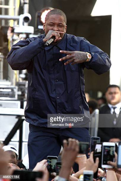 Rapper YG performs during the Revolt Live hosts exclusive 'Furious 7' takeover with musical performances from the official movie soundtrack held at...