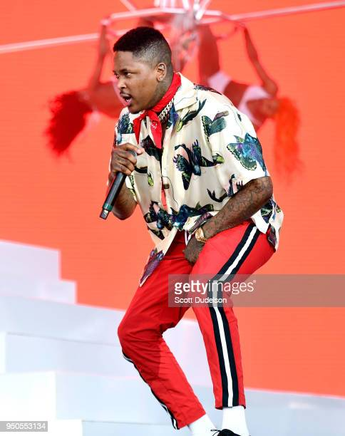 Rapper YG performs onstage during week 1 day 3 of the Coachella Valley Music And Arts Festival on April 15 2018 in Indio California