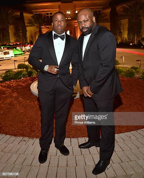 Rapper Yo Gotti and Breyon Prescott attend Rick Ross Private Birthday affair at Rick Ross Mansion on January 28 2016 in Atlanta Georgia