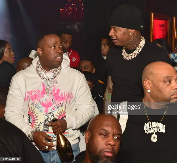 Rapper Yo Gotti and Moneybagg Yo attend The official Big Game Kick Off Hosted By Yo GottiBernice BurgosMoneybagg Yo at Compound on February 1 2019 in...