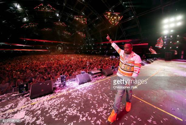 Rapper Yo Gotti performs on the Sahara Stage during day 3 of the 2017 Coachella Valley Music Arts Festival at the Empire Polo Club on April 23 2017...
