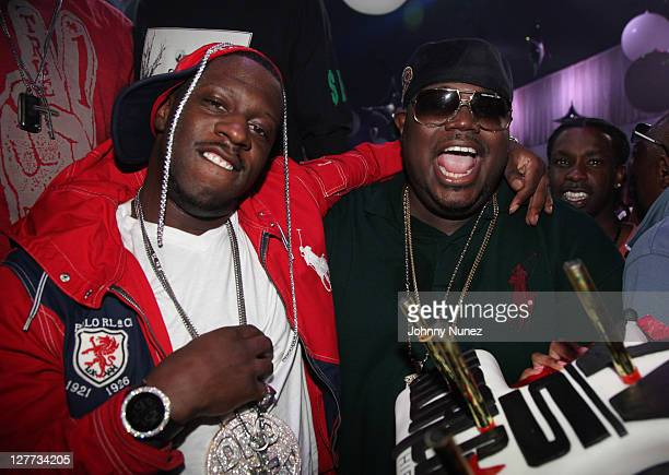 Rapper Young Dro and Worldstarhiphop founder Lee 'Q' O'Denat attend TI's welcome home party at ESSO on October 1 2011 in Atlanta Georgia