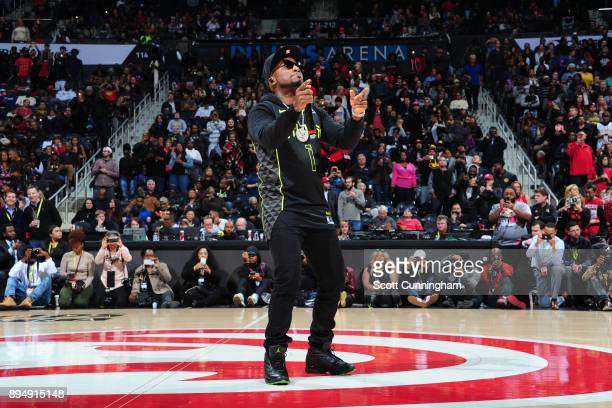 Rapper Young Jeezy performs during the Detroit Pistons game against the Atlanta Hawks on December 14 2017 at Philips Arena in Atlanta Georgia NOTE TO...