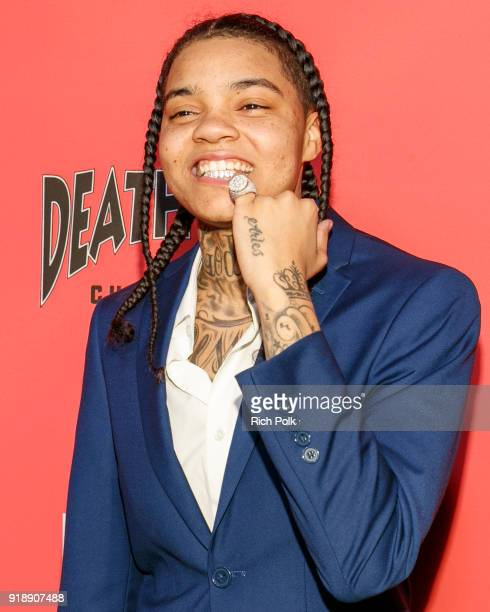 Rapper Young MA arrives at an event where BET NETWORKS Hosts an Exclusive Dinner Performance for upcoming docuseries 'Death Row Chronicles' about the...