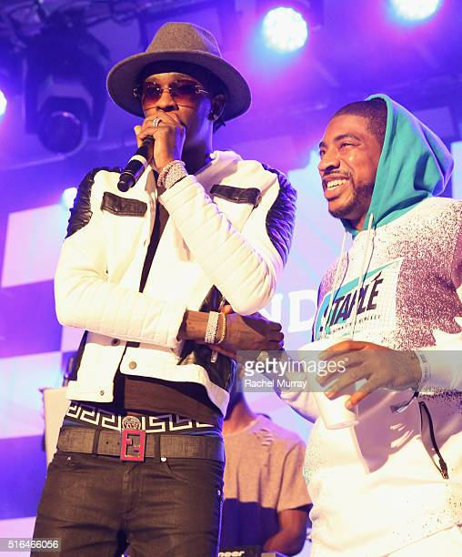 Rapper Young Thug and DJ Holiday perform onstage during the PANDORA Discovery Den SXSW on March 18 2016 in Austin Texas
