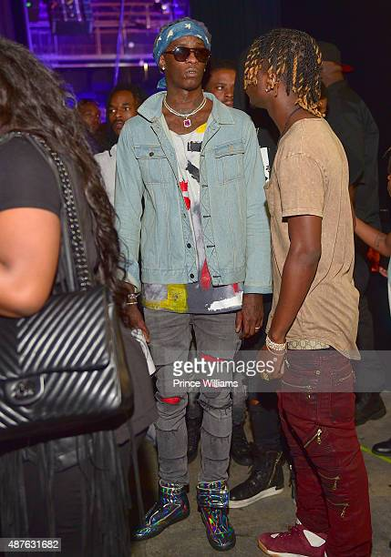 Rapper Young Thug attends the Chris Brown One Hell Of A Nite Tour at Aaron's Amphitheater on September 5 2015 in Atlanta Georgia