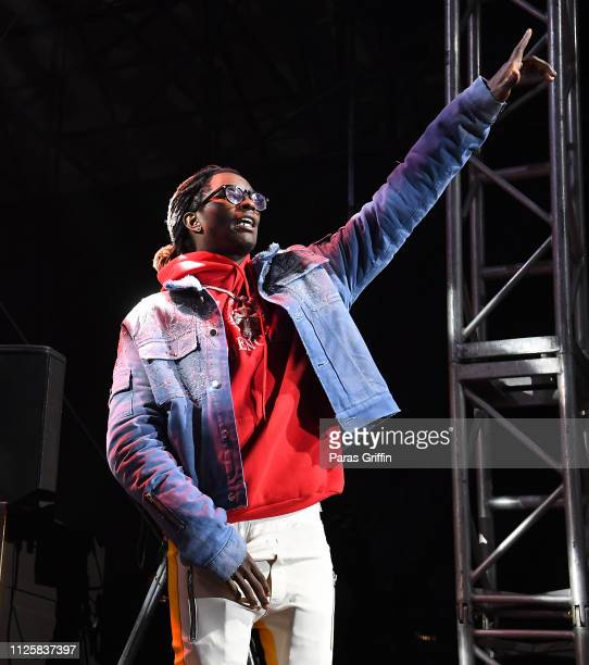 Rapper Young Thug onstage during 2019 Super Bowl Live at Centennial Olympic Park on January 28 2019 in Atlanta Georgia