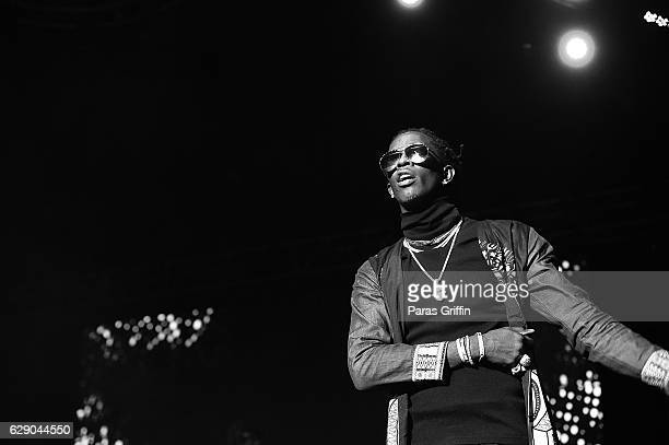 Rapper Young Thug performs onstage at 2016 V103 Winterfest at Philips Arena on December 10 2016 in Atlanta Georgia