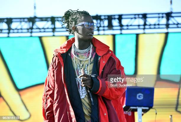 Rapper Young Thug performs onstage during the Smokers Club Festival at The Queen Mary on April 28 2018 in Long Beach California