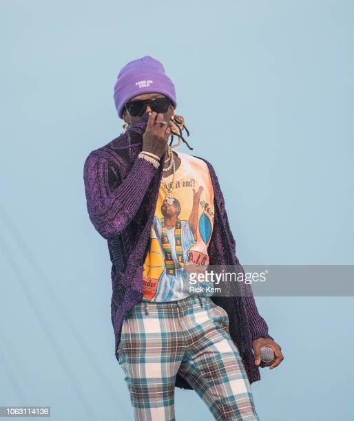Rapper Young Thug performs onstage during Travis Scott's inaugural Astroworld Festival at NRG Park on November 17 2018 in Houston Texas