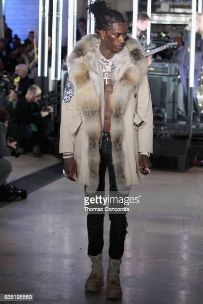 Rapper Young Thug walks the runway wearing look for the Philipp Plein Fall/Winter 2017/2018 Women's And Men's Fashion Show at The New York Public...