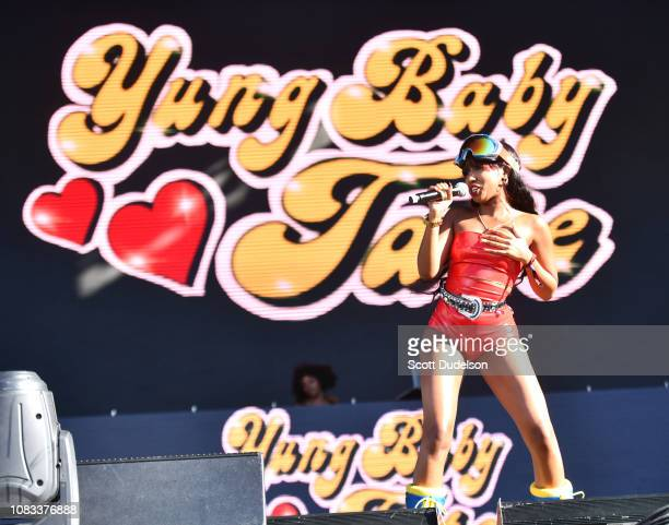 Rapper Yung Baby Tate performs onstage during day 2 of Rolling Loud Festival at Banc of California Stadium on December 15 2018 in Los Angeles...