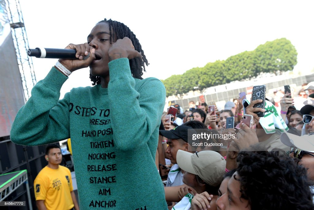Rapper Yung Bans performs in the crowd the Day N Night Festival at Angel Stadium of Anaheim on September 10, 2017 in Anaheim, California.