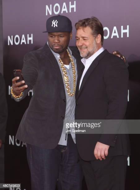 Rapper/actor 50 Cent and actor Russell Crowe attend the 'Noah' New York Premiere at Ziegfeld Theatre on March 26 2014 in New York City