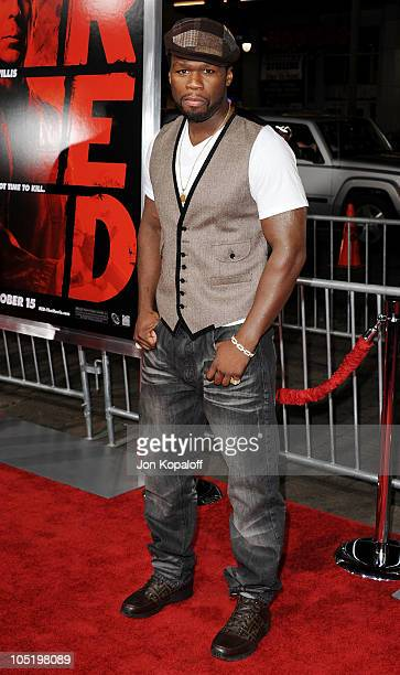 Rapper/Actor 50 Cent arrives at the Los Angeles Premiere 'RED' at Grauman's Chinese Theatre on October 11 2010 in Hollywood California