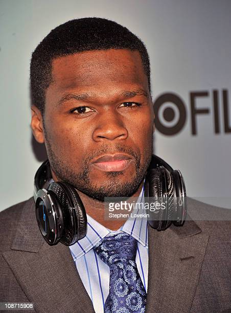 Rapper/actor 50 Cent attends the HBO Films The Cinema Society screening of 'Sunset Limited' at Time Warner Screening Room on February 1 2011 in New...