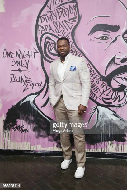 Rapper/actor 50 Cent attends the performance 'HerO A Work in Progress' with Omari Hardwick at The Billie Holiday Theater on June 29 2018 in Brooklyn...