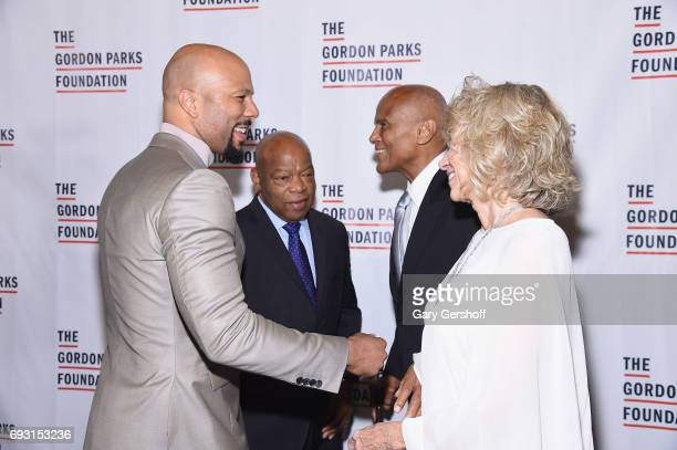 Rapper/actor Common event honoree US Congressman John Lewis Harry Belafonte and Pamela Frank attend the 2017 Gordon Parks Foundation Awards gala at...