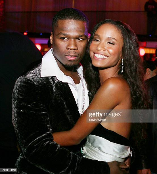 Rapper/actor Curtis '50 Cent' Jackson and actress Joy Bryant pose at the afterparty for the premiere of Paramount Picture's 'Get Rich or Die Tryin''...