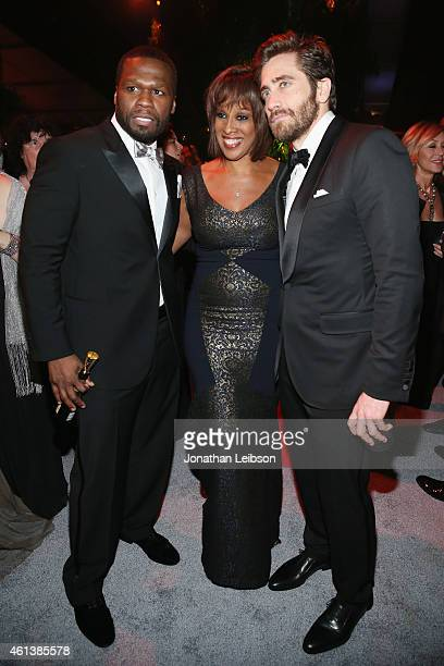 Rapper/actor Curtis 50 Cent Jackson TV personality Gayle King and actor Jake Gyllenhaal attend The Weinstein Company Netflix's 2015 Golden Globes...
