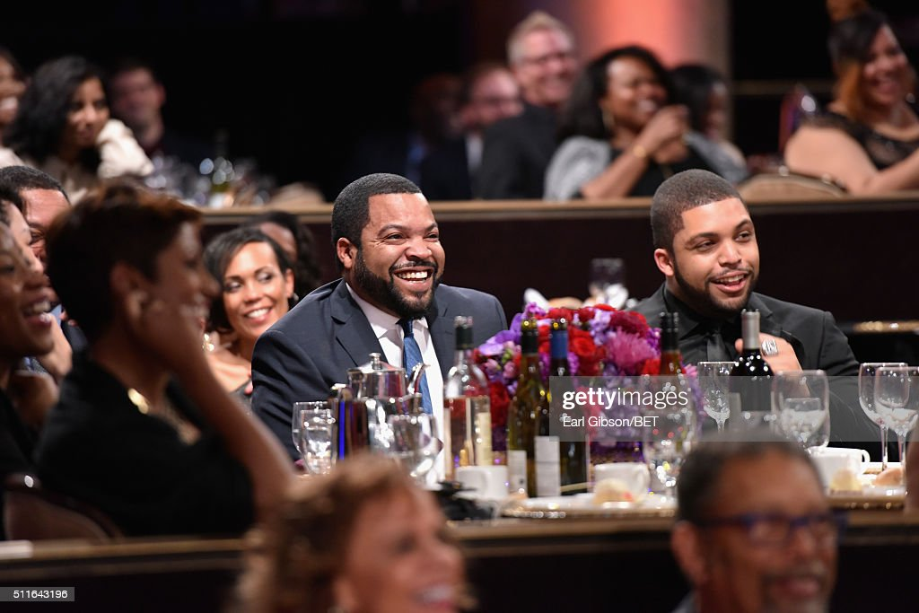 Rapper-actor Ice Cube (L) and actor O'Shea Jackson Jr. in the audience during the 2016 ABFF Awards: A Celebration Of Hollywood at The Beverly Hilton Hotel on February 21, 2016 in Beverly Hills, California.