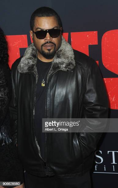 Rapper/actor Ice Cube arrives for the Premiere Of STX Films' 'Den Of Thieves' held at Regal LA Live Stadium 14 on January 17 2018 in Los Angeles...