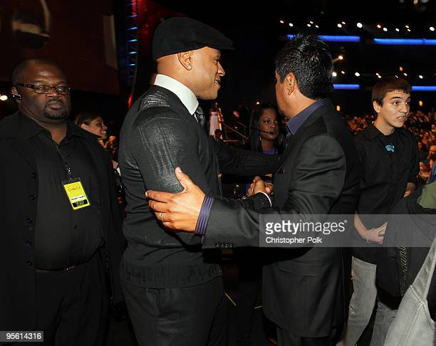 Rapper/actor LL Cool J and actor George Lopze in the audience during the People's Choice Awards 2010 held at Nokia Theatre LA Live on January 6 2010...