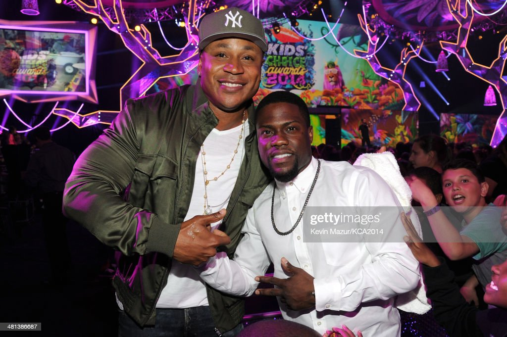 Rapper/actor LL Cool J (L) and actor Kevin Hart attend Nickelodeon's 27th Annual Kids' Choice Awards held at USC Galen Center on March 29, 2014 in Los Angeles, California.