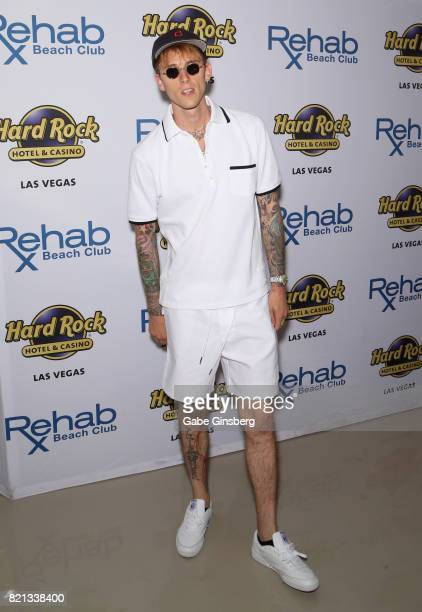 Rapper/actor Machine Gun Kelly arrives at the Rehab Beach Club pool party at the Hard Rock Hotel & Casino on July 23, 2017 in Las Vegas, Nevada.