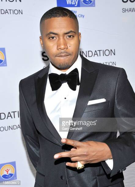 Rapper/actor Nas attends the Jay Z performance at Carnegie Hall to benefit The United Way of New York and The Shawn Carter Foundation on February 7...
