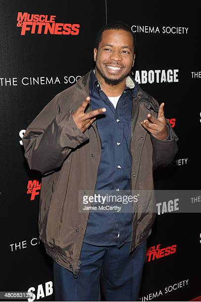 Rapper/actor Saigon attends The Cinema Society with Muscle Fitness screening of Open Road Films' Sabotage at AMC Loews Lincoln Square on March 25...