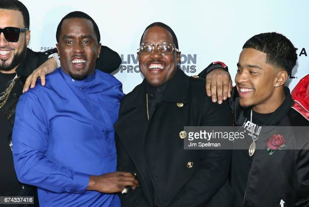 Rapper/actor Sean Combs Mase and Justin Dior Combs attend the world premiere of Can't Stop Won't Stop A Bad Boy Story cosupported by Deleon Tequila...