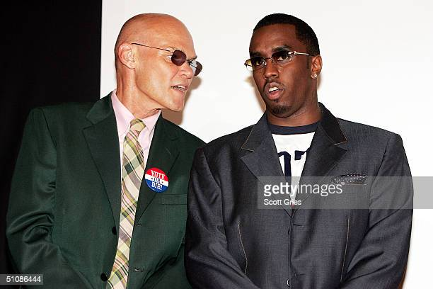 Rapper/actor Sean P Diddy Combs and political consultant James Carville stand on stage as they attend a press conference to announce plans for the...