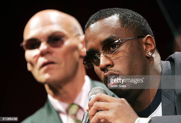 Rapper/actor Sean P Diddy Combs gestures as he speaks while political consultant James Carville listens during a press conference to announce plans...