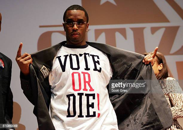 """Rapper/actor Sean """"P. Diddy"""" Combs stands on stage at a press conference to announce plans for the Citizen Change Campaign at NYU's Kimmel Auditorium..."""