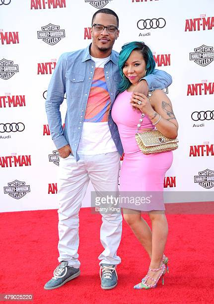 Rapper/actor TI and singer Tamika 'Tiny' CottleHarris attend the premiere of Marvel's 'AntMan' at the Dolby Theatre on June 29 2015 in Hollywood...