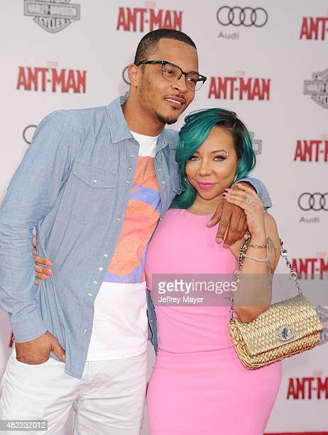 Rapper/actor TI and Tamika 'Tiny' CottleHarris arrive at the Los Angeles premiere of Marvel Studios 'AntMan' at Dolby Theatre on June 29 2015 in...