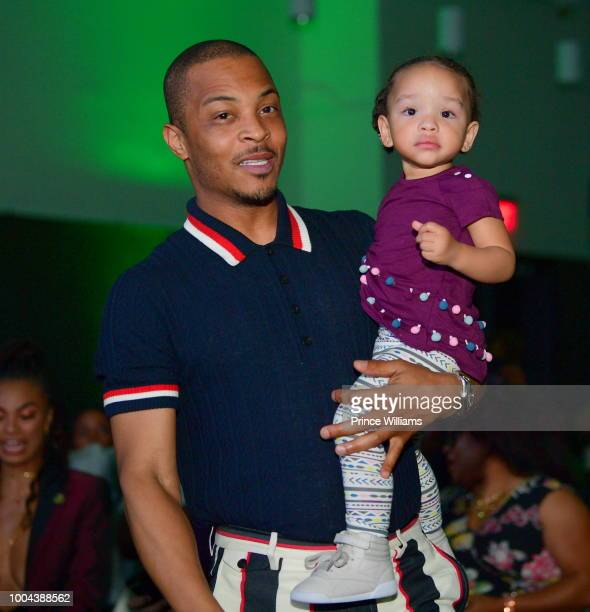 Rapper/actor Tip 'T.I.' Harris and Heiress Harris attend 'The Grand Hustle' Exclusive Viewing Party at at The Gathering Spot on July 19, 2018 in...