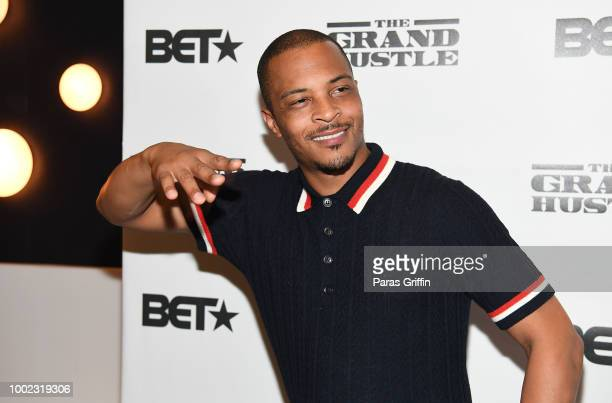 Rapper/actor Tip 'TI' Harris attends 'The Grand Hustle' Exclusive Viewing Party at The Gathering Spot on July 19 2018 in Atlanta Georgia