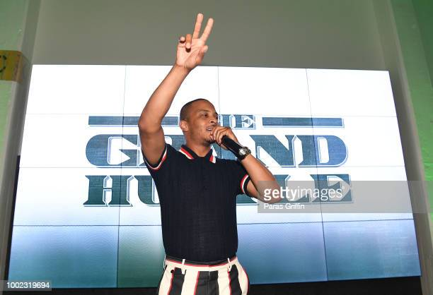 Rapper/actor Tip 'TI' Harris speaks onstage at 'The Grand Hustle' Exclusive Viewing Party at The Gathering Spot on July 19 2018 in Atlanta Georgia