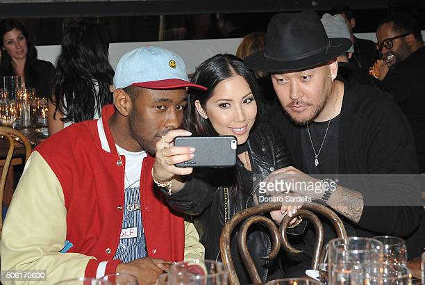 Rapper/actor Tyler the Creator Model Nicolette Lacson and CoFounder of Superism Ben Baller attend the REVOLVEman and Superism launch event at...